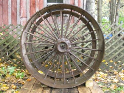 "Vintage Large Pair Cast Iron Wagon Wheels 43"" Diameter x 10"" Wide"