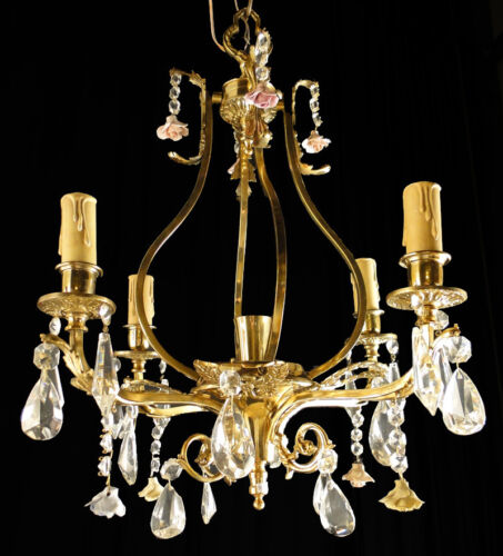 Antique French Louis XV Bronze and glass chandelier Small ceramic flowes (1126)