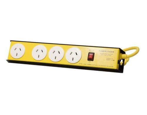 NEW 4 Way Powertough Heavy Duty Metal Surge Protected Powerboard