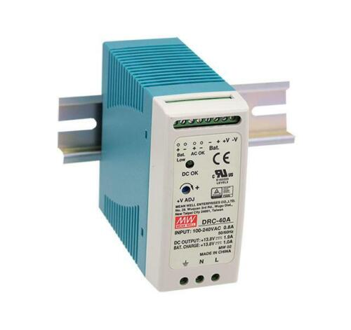NEW MEAN WELL DRC-40 Series UPS Din Rail Power Supply with Battery Back Up