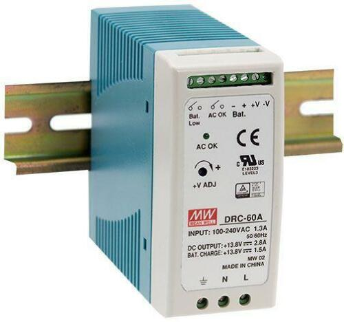 NEW MEAN WELL DRC-60 Series UPS Din Rail Power Supply with Battery Back Up