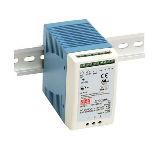 NEW MEAN WELL DRC-100 Series UPS Din Rail Power Supply with Battery Back Up