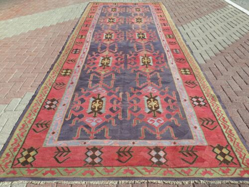 "Anatolia Turkish Nomads Kilim Red Purple Color Tribal Design Carpet 75,5""x194,4"""
