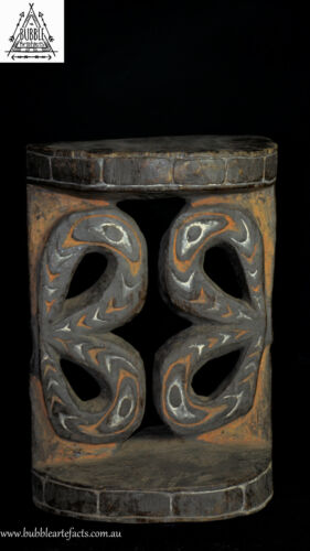 Rare Fabulous Carved Wood Ornate Stool, Blackwater, Papua New Guinea, Oceanic