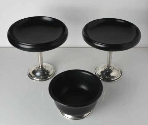 3pc John Hasselbring Sterling Silver and Ebonized Wood Compotes and bowl c1920,