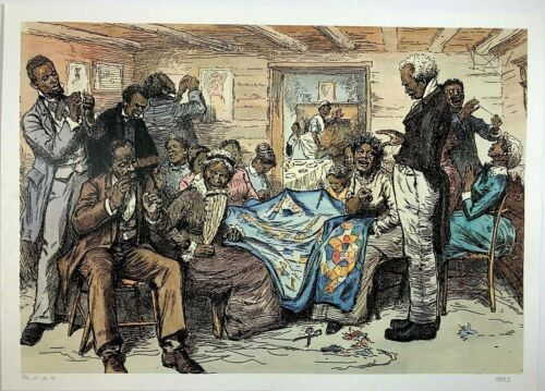 Old Times, Sewing The Quilts 1883 Black Art (Signed & Numbered)18 1/4  x 25 3/4