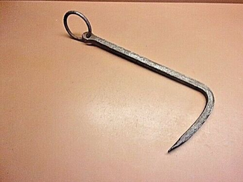 """Primitive Large Hand Forged Iron Hook w/3"""" Ring Butchers Hanging Hook 14"""" Long"""