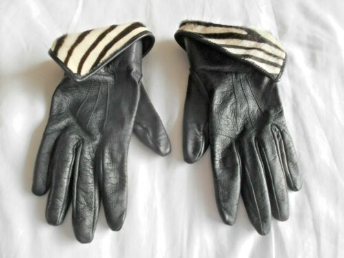 """JAEGER"" DESIGNER BLACK KID LEATHER & PONY SKIN SILK LINED GLOVES - Cost £79!!!"