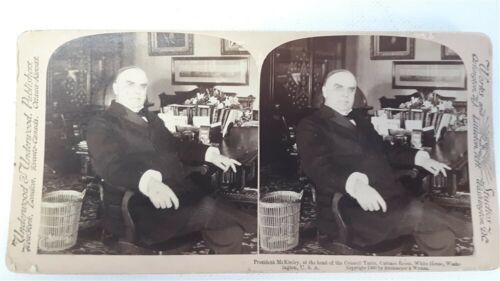 UNDERWOOD STEREOVIEW WILLIAM MCKINLEY IN THE CABINET ROOM IN THE WHITE HOUSE