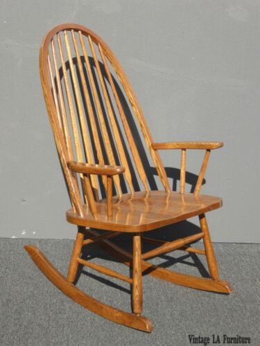 Vintage Mid Century French Country Oak Windsor Rocking Chair by Royola Pacific