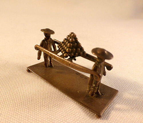Antique 833 Dutch Miniature Sterling People Carrying Cannon Balls? 2 Pieces