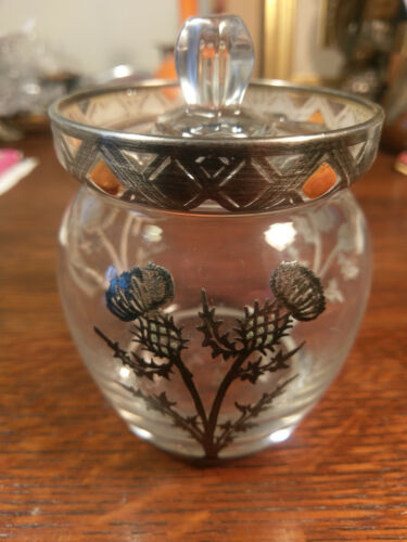 Rockwell Silver Overlay Glass Jar Thistle Jam Jelly Marmalade Enamel condiment