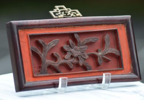 ANTIQUE CHINESE STUNNING WOOD RELIEF CARVING SCULPTURE FLORAL FRAME STAMP