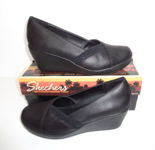 Skechers New Ladies Black Memory Foam Wedge Boots Shoes RRP £65 Sizes 2-8