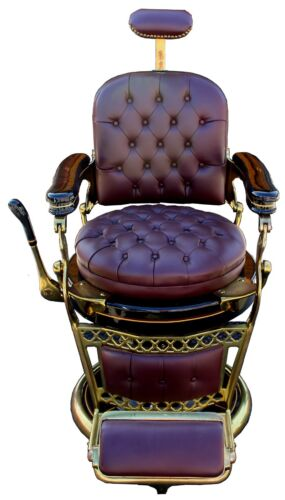 Antique 1920s Emil J. Paidar Leather Barber Chair, Fully Restored