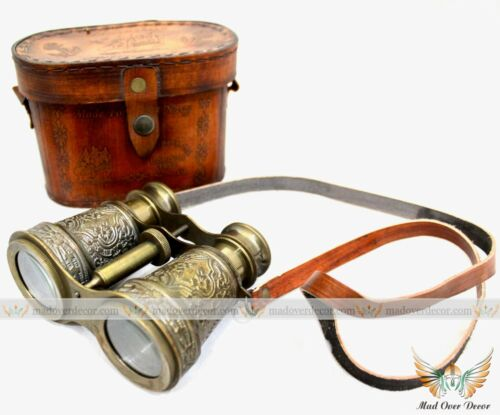 HANDMADE SOLID BRASS ANTIQUE FINISH TRAVELING BINOCULAR WITH LEATHER COVER