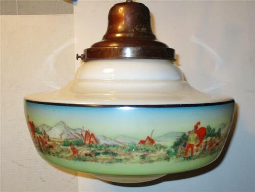 VINTAGE Art Deco  Mission Hand Painted Pendant Glass Shade Light Fixture #1