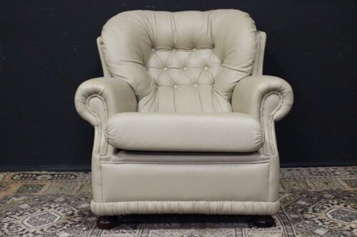 Bella poltrona Chesterfield/Chester bergere monk originale inglese /pelle beige
