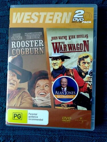 ROOSTER COGBURN THE WAR WAGON – DVD, 2-DISC- R-4- LIKE NEW- FREE POST AUS-WIDE