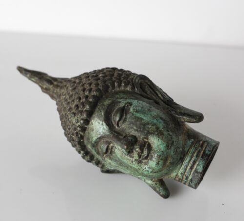 Antique Thai Ayutthaya style Buddha Bust / Head fragment, patinated Bronze