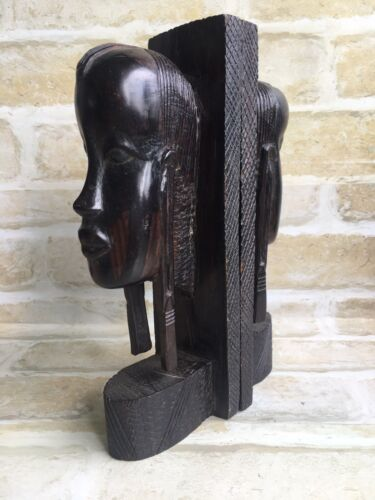 GORGEOUS VINTAGE WOODEN HANDED CRAFTED AFRO HEAD BOOKENDS