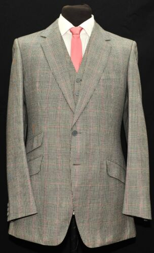 BESPOKE COLEMAN AND SONS PRINCE OF WALES CHECK 3 PIECE SUIT SIZE 40 LONG 32 W
