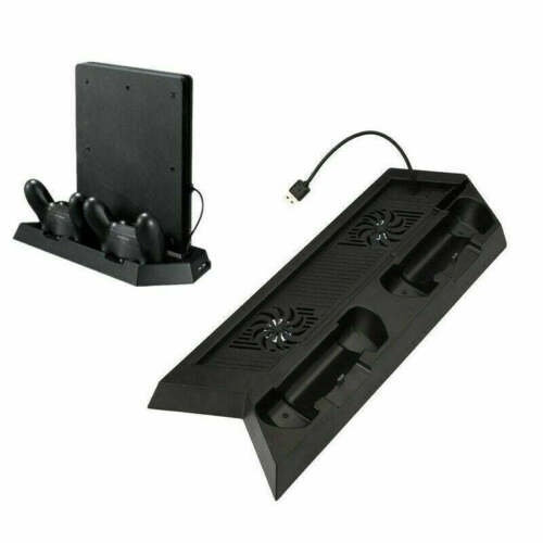 For Playstation PS4 & Slim 3in1 Vertical Stand Dock Controller Cooling Charger