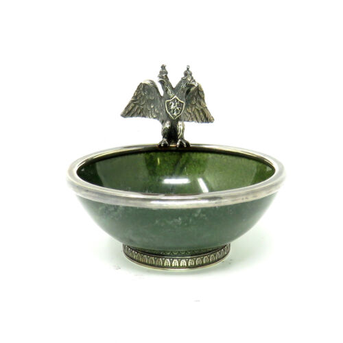 NYJEWEL Imperial Russian Royal Double headed Eagle Diamond Silver Nephrite Bowl