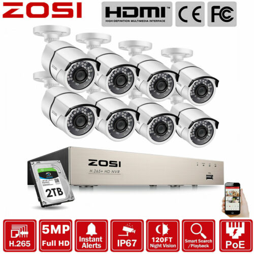 ZOSI 5MP H.265+ 8CH POE NVR CCTV IP Security Camera System Outdoor Network 2TB