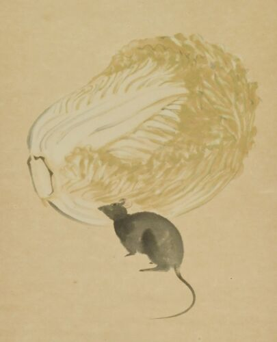 JAPANESE PAINTING Hanging Scroll Cabbage Mouse OLD VINTAGE Japan Art c745