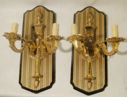Antique pair of french bronze Louis XV sconces solid chiselled bronze (1270)