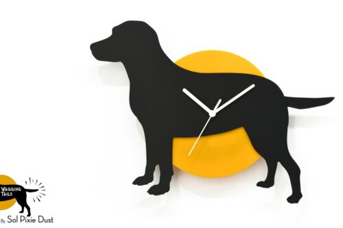 Wagging Tail Labrador Dog - Black & Yellow Silhouette - Wall Clock