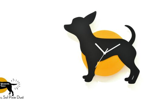 Wagging Tail Chihuahua Dog - Black & Yellow Silhouette - Wall Clock
