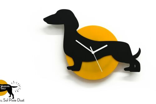 Wagging Tail Dachshund Dog - Black & Yellow Silhouette - Wall Clock