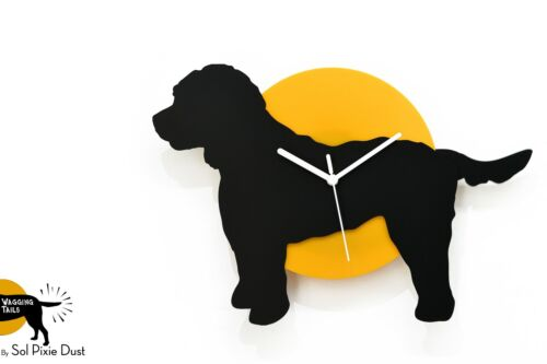Wagging Tail Cockapoo Dog - Black & Yellow Silhouette - Wall Clock