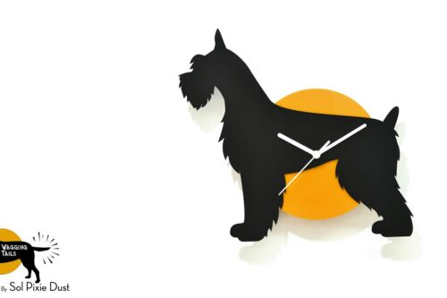 Wagging Tail Giant Schnauzer Dog - Black & Yellow Silhouette - Wall Clock