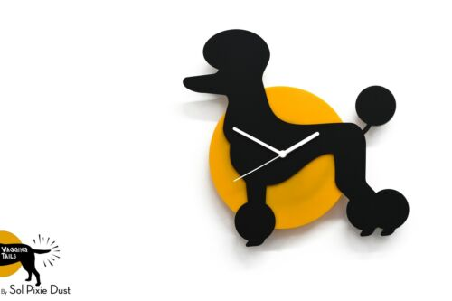 Wagging Tail Poodle Dog - Black & Yellow Silhouette - Wall Clock