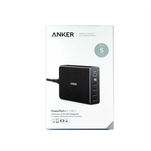 ANKER WALL AC CHARGER USB 5 PORT 60W POWERPORT+5 USB-C POWER DELIVERY A2053T11