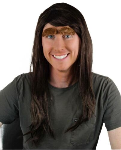 LONG BROWN MEN'S FANCY DRESS WIG & SELF ADHESIVE EYEBROW SET. UK NEXT DAY DISP
