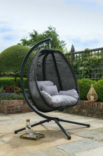 Black Swing Cocoon Hanging Egg Chair Textilene Garden Furniture In Or Outdoor