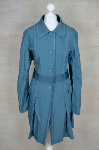 NEW Wrap London teal green cotton button up swing coat UK 22 Plus sized