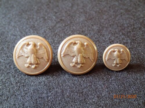 WWII US Womens Army Corps WAC Uniform Button Replacement SET - 2 Front / 1 Cuff Uniforms - 4729