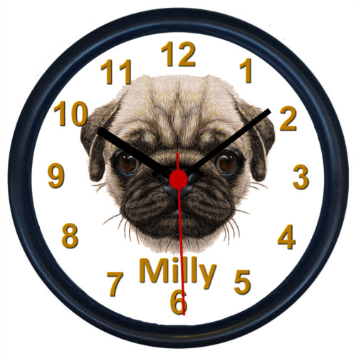 Personalised PUG DOG Wall Clock