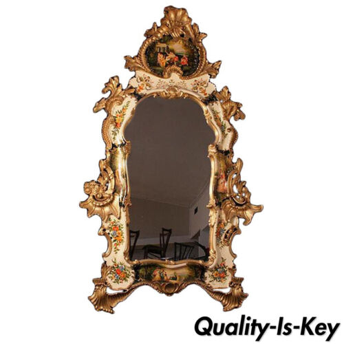 """Italian 62"""" Gold Giltwood Chinoiserie Japanned Large Rococo Console Wall Mirror"""