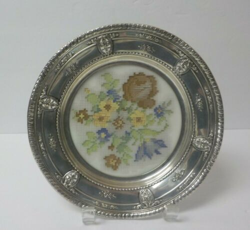 Wallace ROSE POINT Sterling Silver Tray, Cross-Stitch Acrylic Base