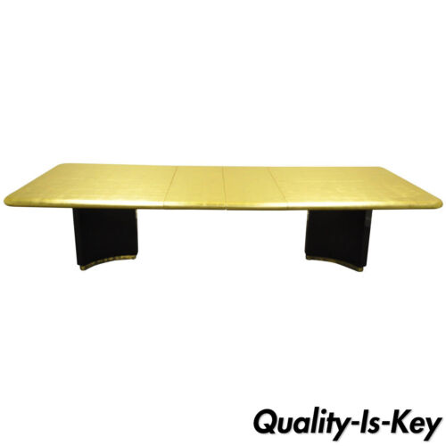 Custom Gold Leaf Art Deco Maison Jansen Style Extension Dining Conference Table