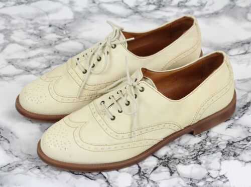 RUSSELL & BROMLEY Cream Leather JEEVES Brogues Loafers Size EU 39.5 / UK 6.5
