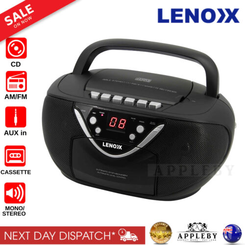 Portable CD Radio Cassette Player Tape Recorder Audio Aux In AM FM Boombox New