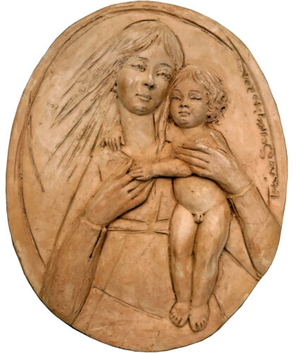Madonna col Bambino in terracotta - Madonna with child terracotta Oval 12146