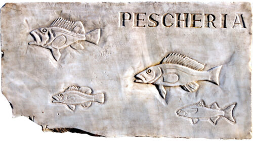 Insegna di Pescheria 4 pesci - Fish Shop insignia marble 4 fishes 11633